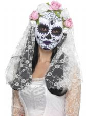 Mexican Day Of The Dead Bride Mask With White Veil